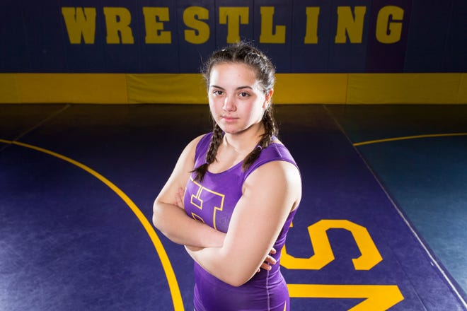 Hononegah wrestler Rose Cassioppi, pictured posing for a portrait at Hononegah High School on Thursday, May 13, 2021, will shoot for her first USA Wrestling national championship starting on Tuesday in Fargo, North Dakota.