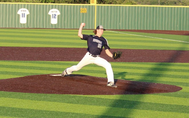 Stephenville Jackets righthander Bryson Dill pitches against Decatur in Game 1 of their playoff series Thursday evening in Weatherford. The Jackets won 8-6. Game 2 was scheduled for Friday evening with Game 3, if necessary, set for Saturday. For more on the game, check yourstephenvilletx.com