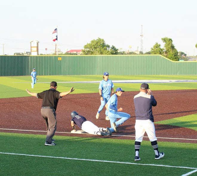 Stephenville's Case Dunnevant is called safe as he slides into base during Thursday's Game 1 of a playoff series against Decatur in Weatherford. The Jackets were scheduled to play Game 2 Friday evening and Game 3, if necessary, on Saturday. For more on the games, check yourstephenvilletx.com