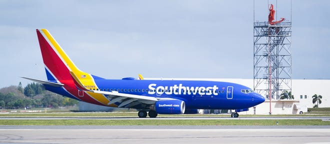A Southwest Airlines jet arrives at the Sarasota-Bradenton International Airport on February 14, 2021.