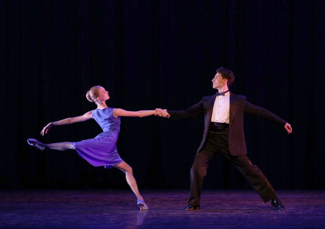 """Claire Gavin and Ivan Spitale in a scene from The Sarasota Ballet's digital presentation of Twyla Tharp's """"Nine Sinatra Songs."""""""