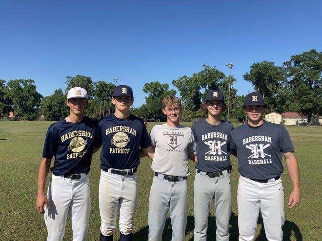 Habersham baseball seniors (left to right) Thomas Tift, Henderson Hughes, Jack Hogan, Ed Beck Yannett and Reed Chambers.