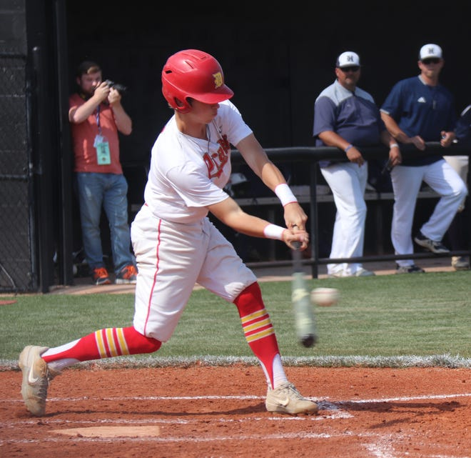 Dale's Ike Shirey singles up the middle against Hartshorne Thursday.