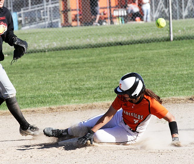 Emma Holmes of Marcellus slides safely into second base on a steal attempt against Bloomingdale on Thursday.