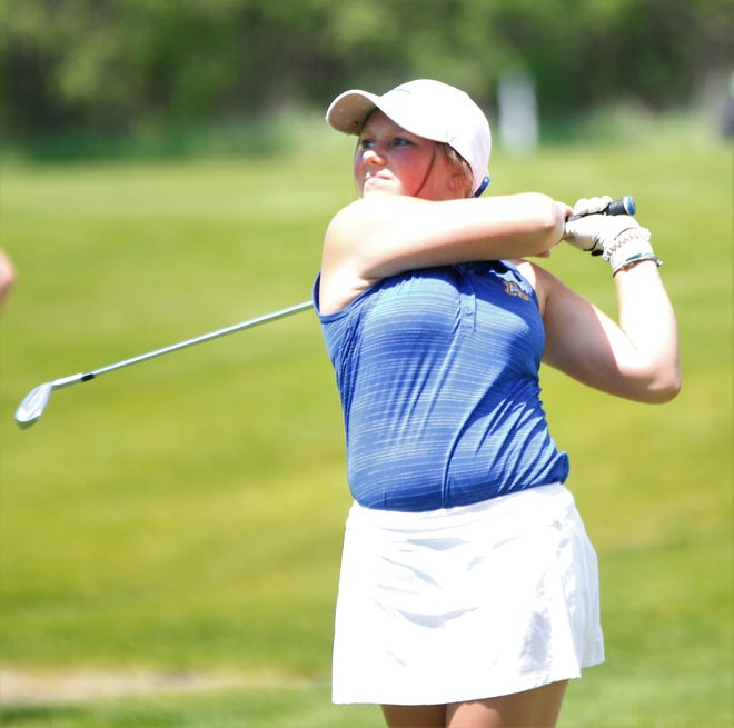 Aberdeen Central's Danielle Podoll watches her tee shot on No. 11 at Lakeview Golf Course during the Mitchell Invitational. (Ryan Deal / Republic)