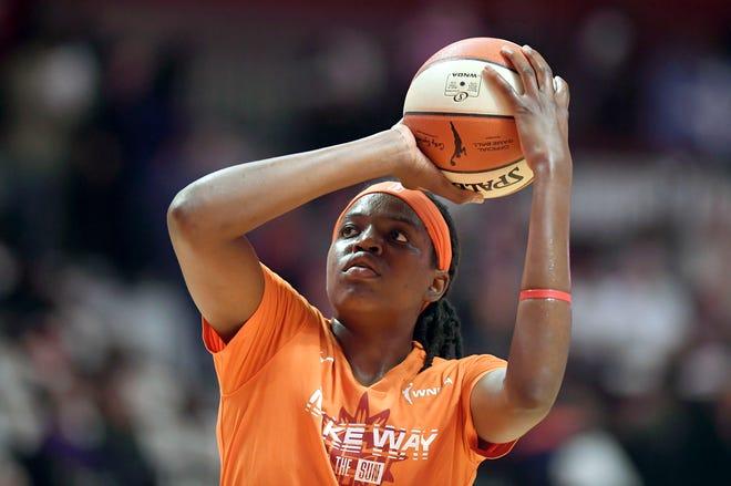 Connecticut Sun's Jonquel Jones warms up before Game 3 of the 2019 WNBA Finals against the Washington Mystics in Uncasville.