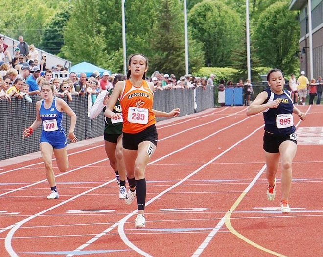 Gardner's Savannah Pineda (239) won the 200-meter event at the 2019 Central/Western Mass. Championships at Westfield State.