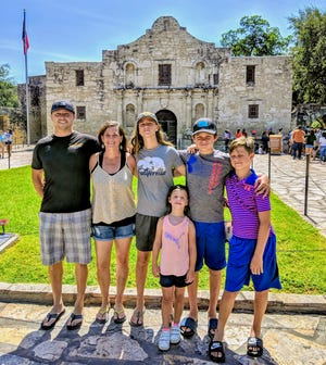 Lori (Penny) Keeler, second from left, with her husband, Dennis, and their kids, Josie, Violet, Shane and Nolan visited the Alamo during a cross-country trip in 2019.