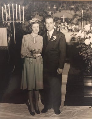 Ed and Mary Lou Robinson on their wedding day on December 23, 1946.
