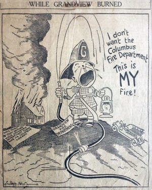 This editorial cartoon appeared in a Columbus newspaper in early 1923. It was referring to an argument between Columbus and Grandview Heights firefighters related to the jurisdiction of each fire unit. A home on West Fifth Avenue sustained extensive fire damage while the two fire crews argued over which was responsible for responding to it.