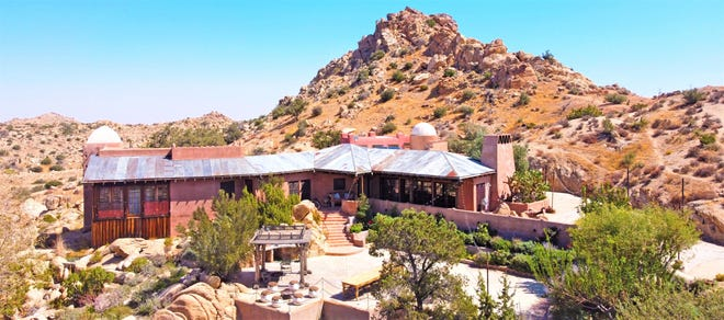 An aerial view of the main entrance to Le Haute Desert Aerie near Pioneertown, Calif.