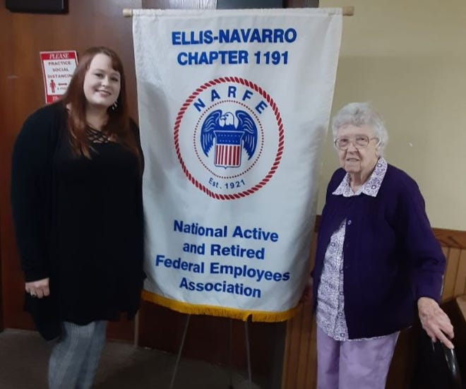 Lydia Bailey, Executive Director of the Children's Advocacy Center, and Willa Kral are pictured at Tuesday's meeting of the National Active and Retired Federal Employees Association Chapter 1191 in Corsicana.