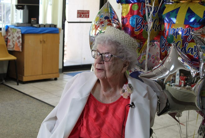 Elsie Wilson celebrates her 100th birthday on May 14, 2021, at Bedford Manor.
