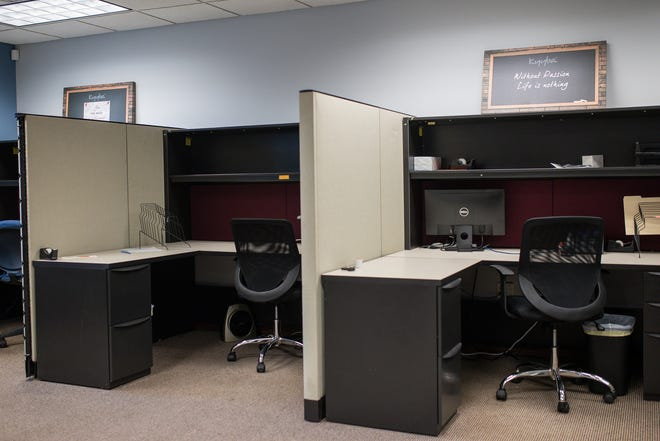 Empty office space in Farmington Hills on May 14, 2021.