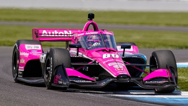 Jack Harvey of England drives during practice for the IndyCar auto race at Indianapolis Motor Speedway in Indianapolis, Friday, May 14, 2021.