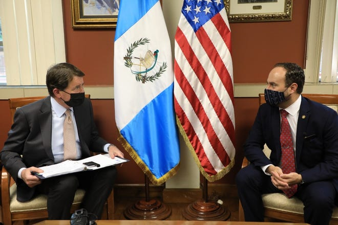 Sen. Bill Hagerty, left, consults with Guatemala Foreign Minister Pedro Brolo during Hagerty's visit to Guatemala during the first week of May, 2021.