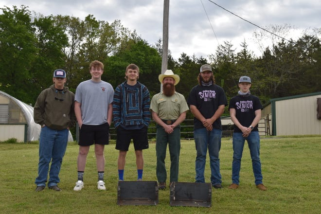 Pictured, from left, are Dylan Clark; Stratt Sanders; Jeremiah Seay; Trey Vaden, of the U.S. Forest Service; Tanner Henderson; and Logan Leisure.