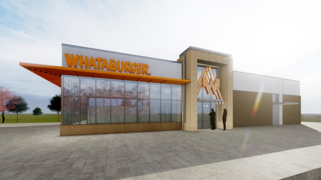 A Whataburger prototype rendering of the main entry. The site plan can vary some depending on building requirements.