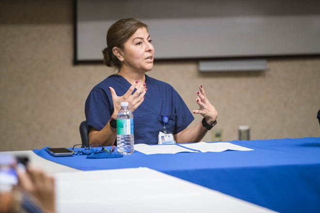 Dolores Gomez, the chief medical officer at Memorial Medical Center, speaks at a press conference at MMC in Las Cruces on Friday, May 14, 2021.