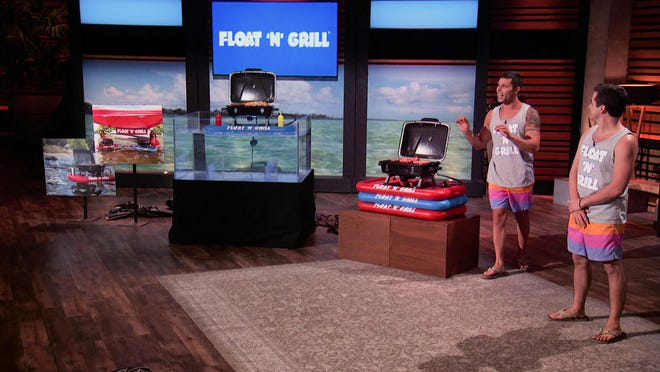 Mikey Bashawaty and his partner, Jeremy Quillico, pitch the Float 'N' Grill on Shark Tank.