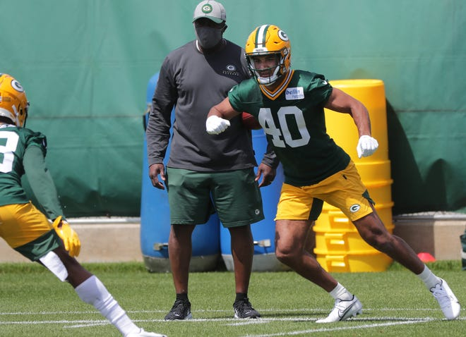 Safety Christian Uphoff (40) Is shown during the first day of Green Bay Packers rookie minicamp Friday, May 14, 2021 in Green Bay, Wis.