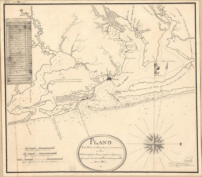 A map of the Pensacola Bay area from 1815 by Vicente Sebastián Pintado.