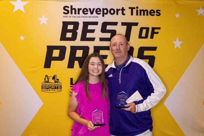 Byrd's Sydney Moss, pictured with Byrd athletic director Mike Suggs, is the 2021 Times Female Golfer of the Year.