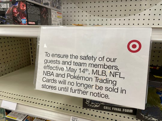A local Sioux Falls target has emptied the shelves and a sign stating that there will be no more sales of collectible cards at this time.