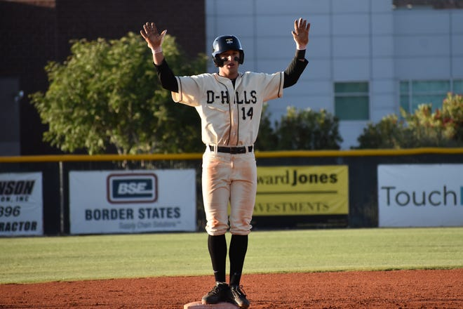 Desert Hills' Reggie Newby celebrates after recording a standup double during the Thunders' 12-1 win over Canyon View.