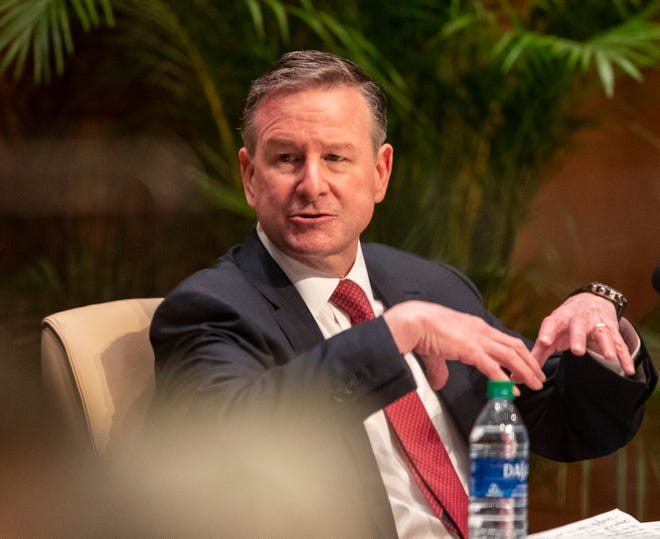 Richard D. McCullough, vice president for research at Harvard University, responds to questions asked by the Florida State Presidential Search Committee on Friday, May 14, 2021.
