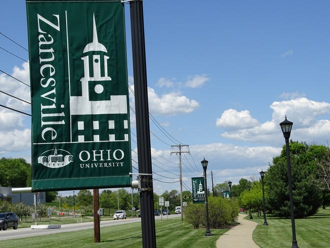 A walking path at Ohio University Zanesville is emptier than in previous years. Summer semester typically has lower enrollment, but with more and more classes being offered online it's especially slow in May 2021.