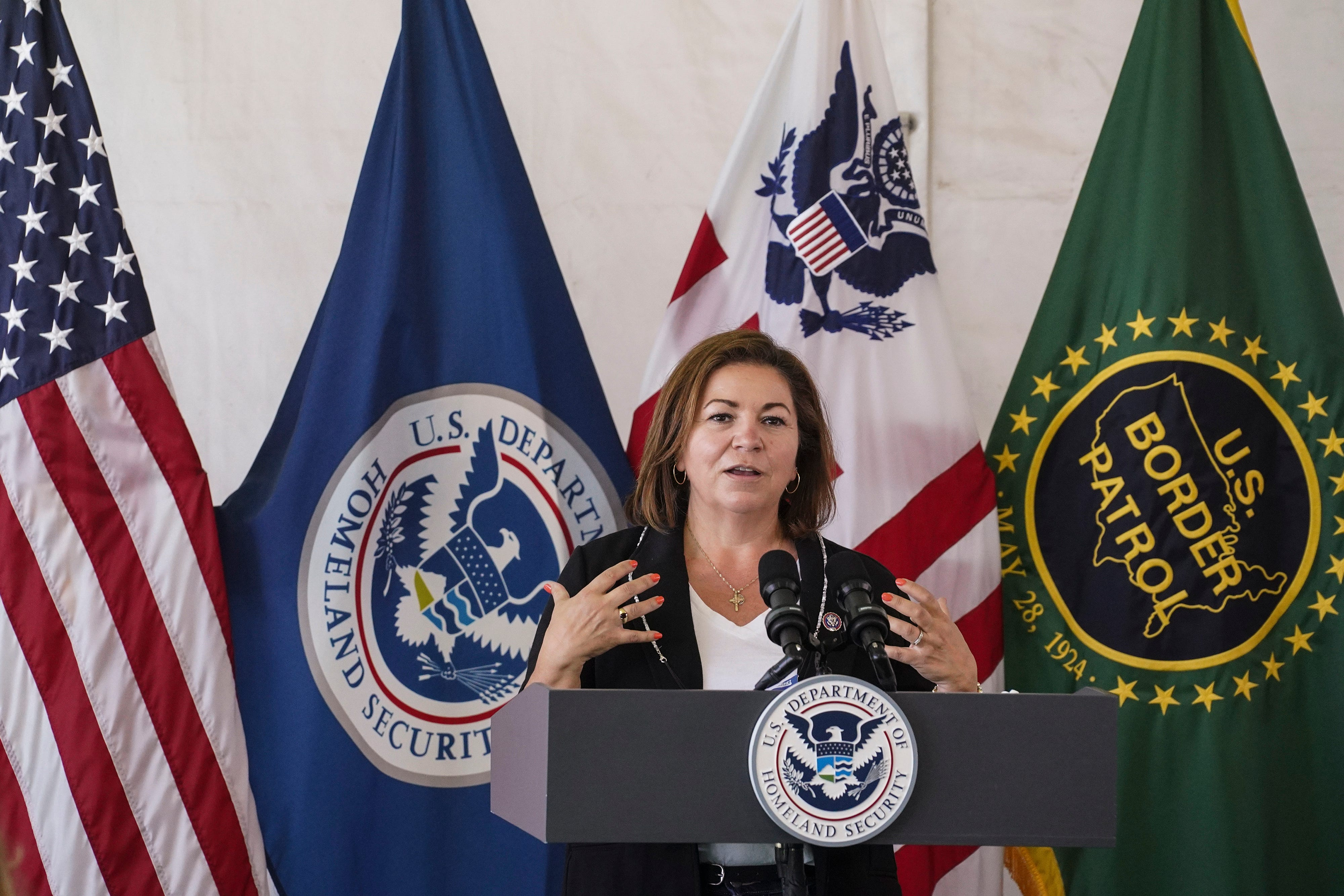 Rep. Linda Sanchez, D-Calif., attends a press conference at a temporary Customs and Border Protection processing center on May 7, 2021 in Donna, Texas.