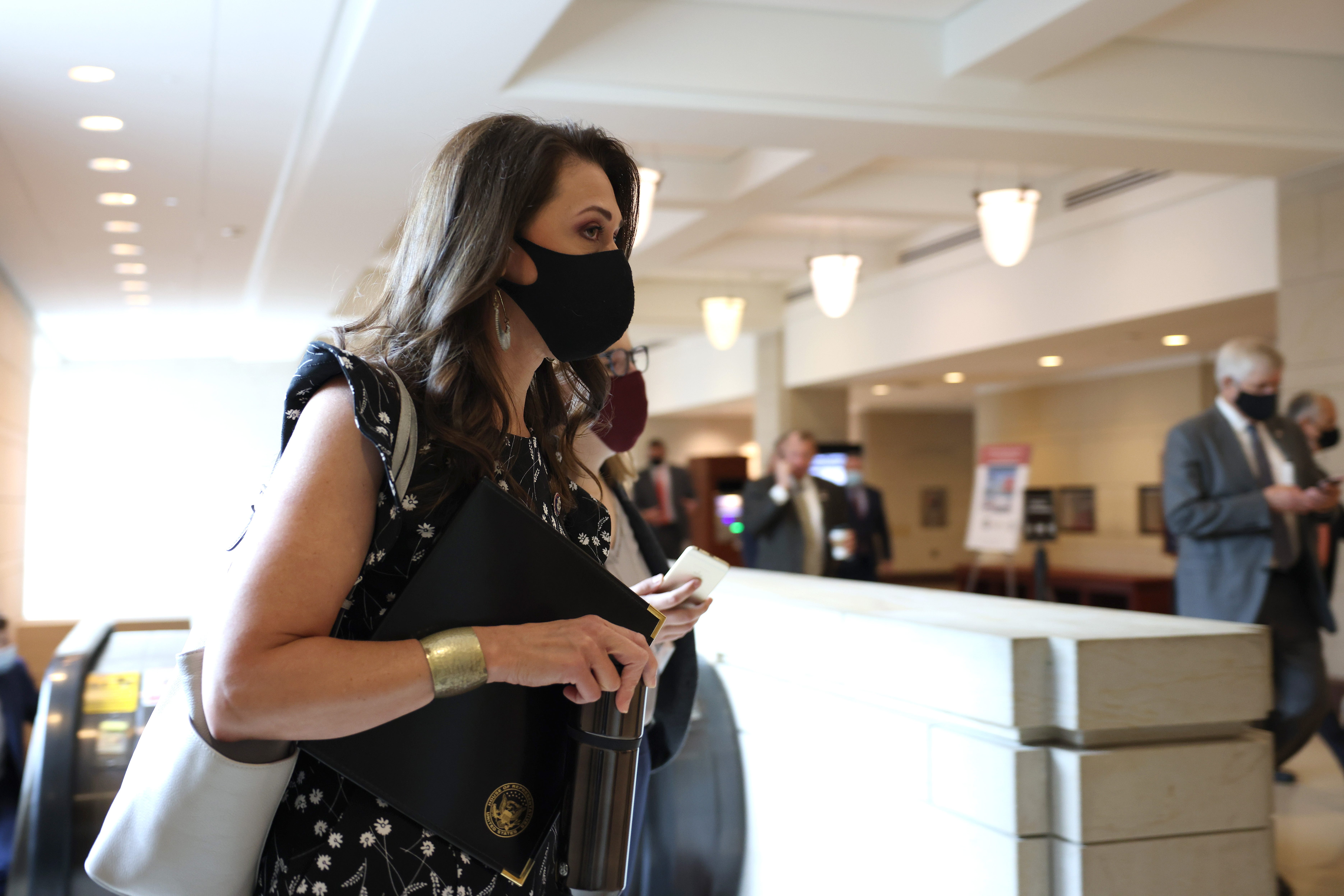 Rep. Jaime Herrera Beutler, R-Wash., leaves a Republican House caucus meeting where the Republicans voted to remote Conference Chair Rep. Liz Cheney, R-Wyo., of her leadership role on Wednesday.