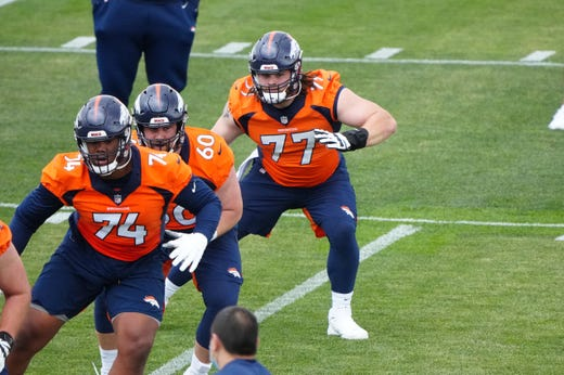 Denver Broncos guard Quinn Meinerz (72) practices during rookie minicamp at the UCHealth Training Center.