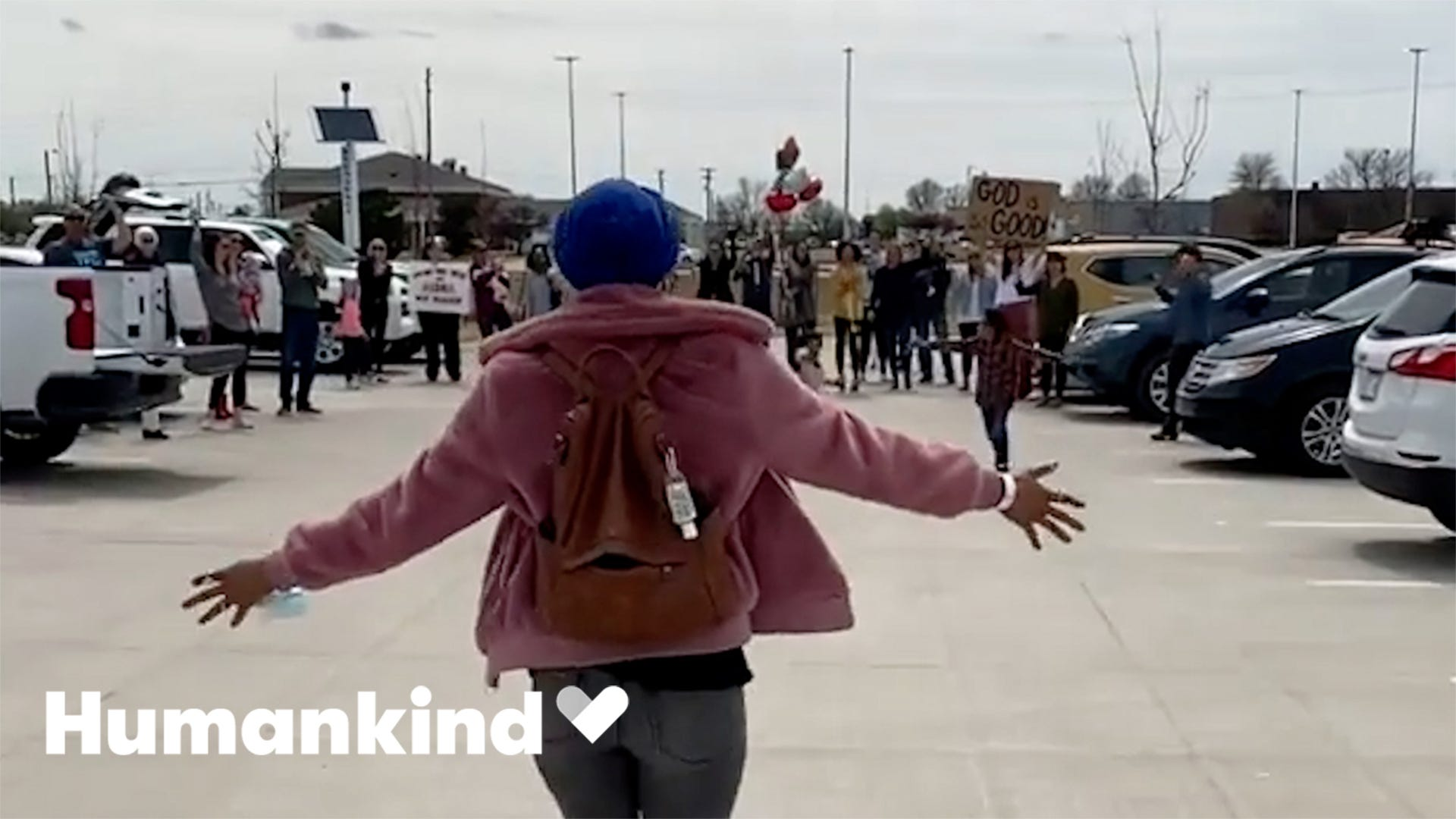 Cancer survivor surprised with parking lot party