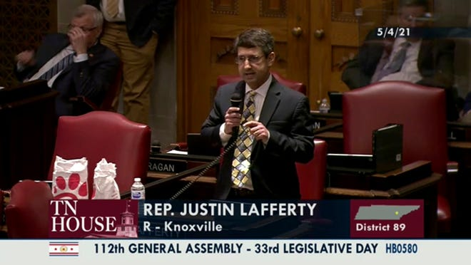 Rep. Justin Lafferty of the Tennessee General Assembly debates critical race theory bill on May 4, 2021, in Nashville.