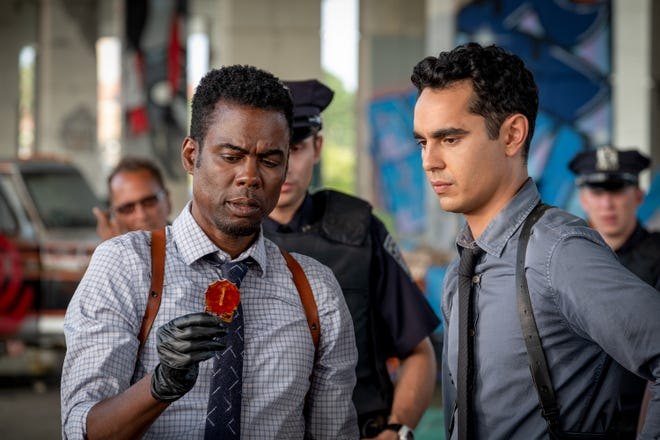"""Chris Rock and Max Minghella play police partners who have secrets in """"Spiral: From the Book of Saw."""""""