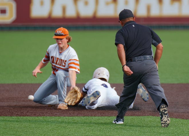 Smithson Valley's Kasen Wells slides safe into second base as Westwood shortstop Matthew Gula tries to lay down the tag during the fifth inning at the Class 6A area-round playoff game Friday at Dripping Springs High School. Smithson Valley won 6-1 to complete the sweep in the best-of-three series.