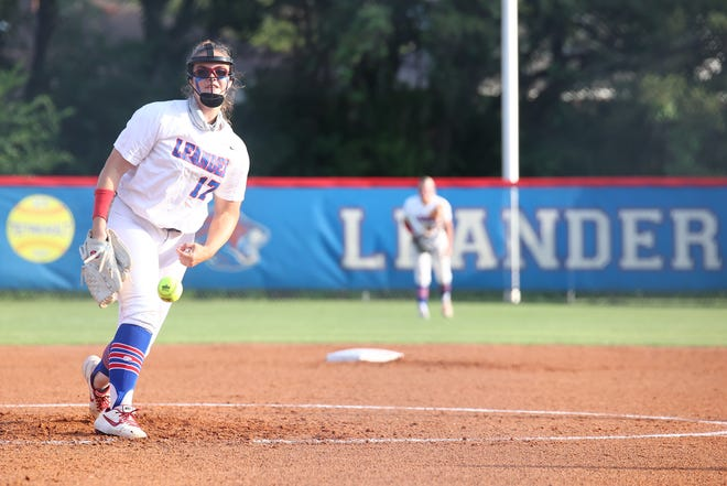 Leander pitcher SJ Geurin paced the Lions last weekend with two wins in a three-game series with Medina Valley. Leander won games one and three 2-0 and 5-0 as Geurin pitched 14 scoreless innings over the series.