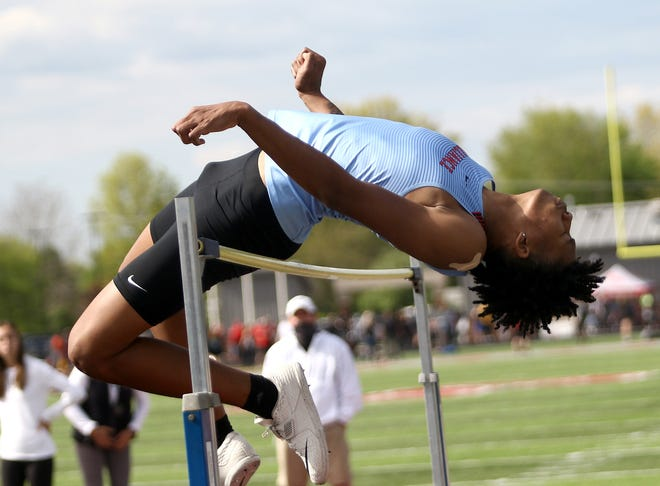 Alliance's Dewayne Davis competes in the high jump at the 2021 Eastern Buckeye Conference Championships  in May.