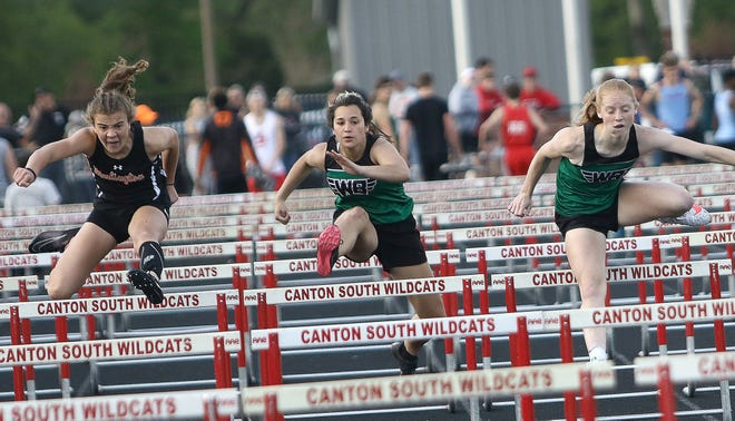Marlington's Elizabeth Mason, West Branch's Alexa Gossett and Alexis Gregory advanced to the finals in the hurdles.