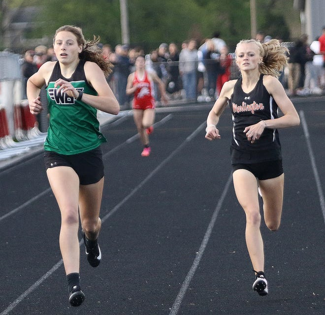 West Branch's Sophia Gregory, left, and Marlington's Mary Mason, right, are in the Division II 400-meter dash finals Saturday at Pickerington North High School.
