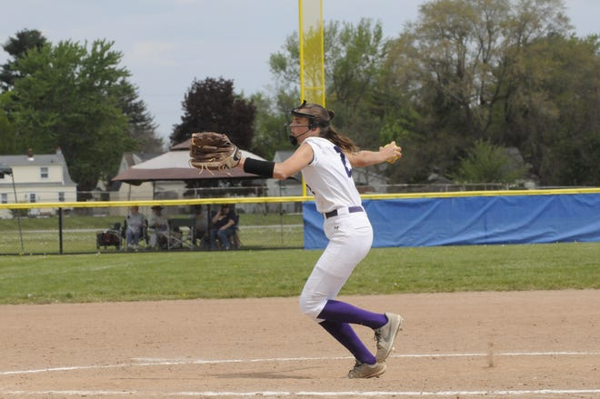 Blissfield's Bella Treloar winds up to pitch during a game against Sand Creek at the Adrian Invitational on Saturday.