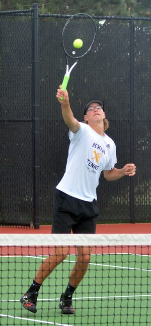 Newton sophomore Justin Franz competes in doubles play at the Class 5A state tournament.