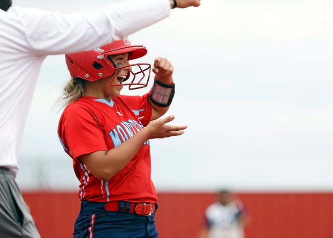 Monterey's Rylee O'Brien (2) celebrates after hitting a triple during the game against Abilene Wylie, May 15, 2021, in Hermleigh, Texas.