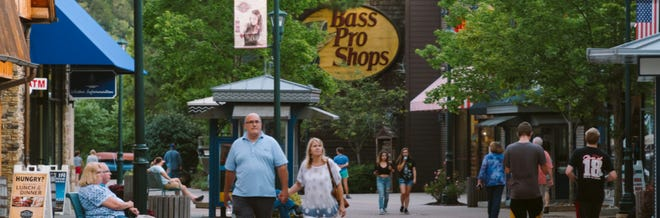 Tourists enjoy one of the many shopping areas throughout Branson.