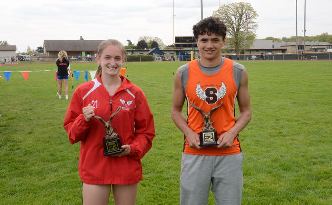 Meredith Soule of Monroe (left) and Summerfield's Roman Iott won the Most Valuable Athlete awards at the Mason Invitational Saturday.