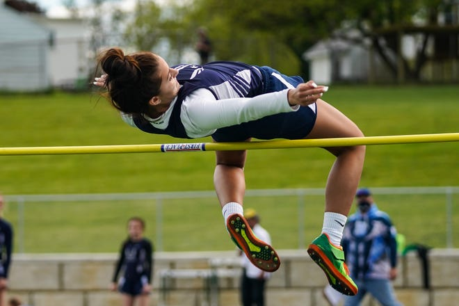 Sarah Dresp captured the PTC high jump title Friday by clearing five feet.