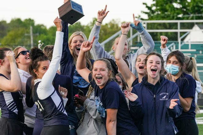 The Rootstown girls celebrate their PTC championship Friday.