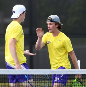 Jackson's Alvin Altman (left) and Ryan Kelley compiete in Division I Doubles Sectional final.   Saturday, May 15, 2021